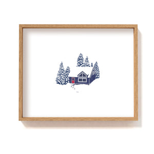 Blue cabin in the woods #1 - Art Print