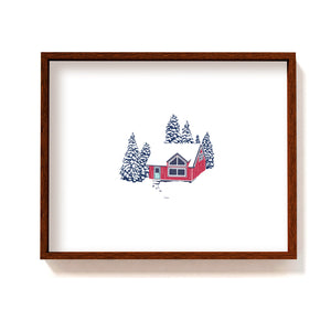 Red cabin in the woods #1 - Art Print