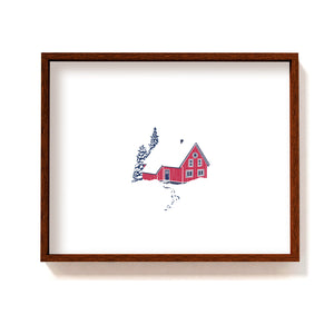 Red cabin in the woods #3 - Art Print