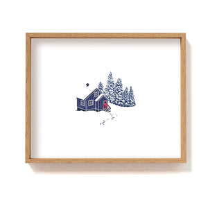Blue cabin in the woods #3 - Art Print