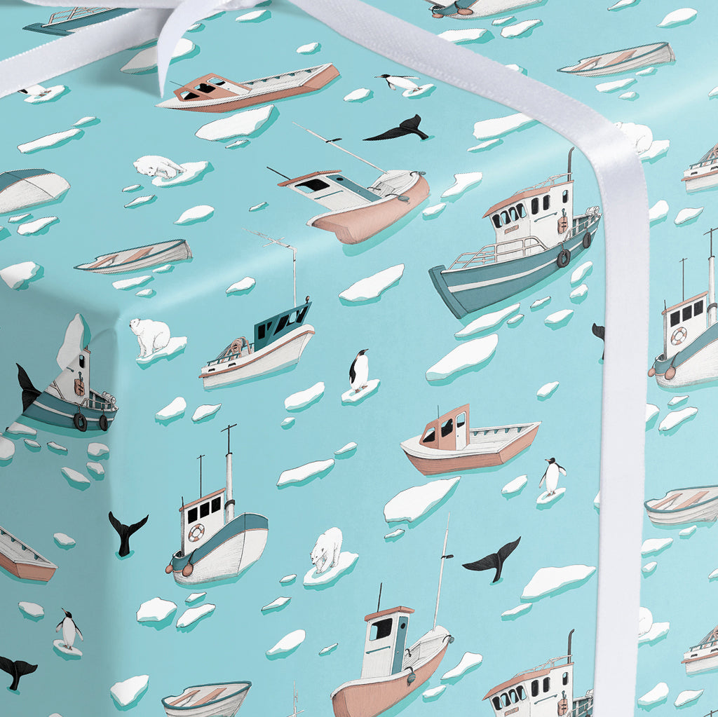 blue winter boats and icebergs pattern wrapping paper
