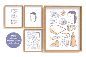 Cheese Types Row - Blue Art Print