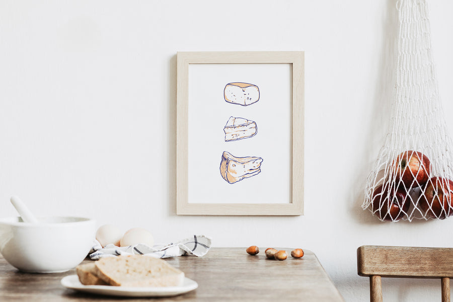3 cheeses illustration art print