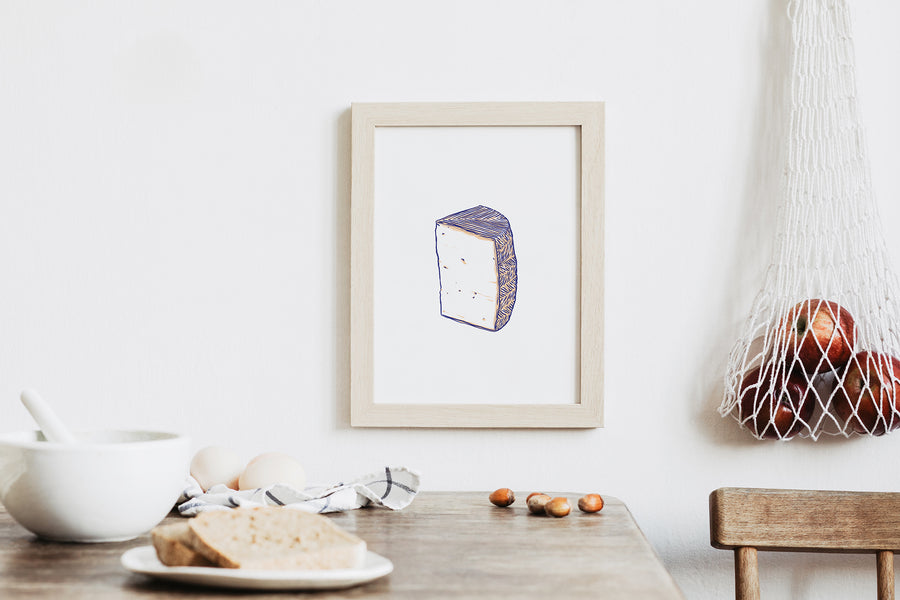 manchego cheese illustration print