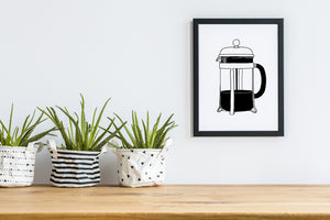 black white french press coffee maker wall art decor
