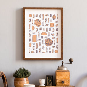pasta types guide illustration wall art print