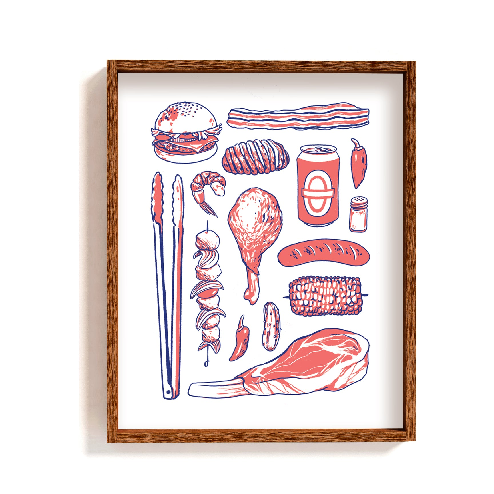 barbecue bbq food types art print