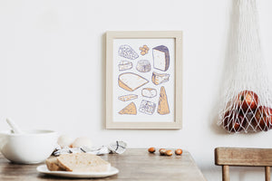 cheese types wall art print