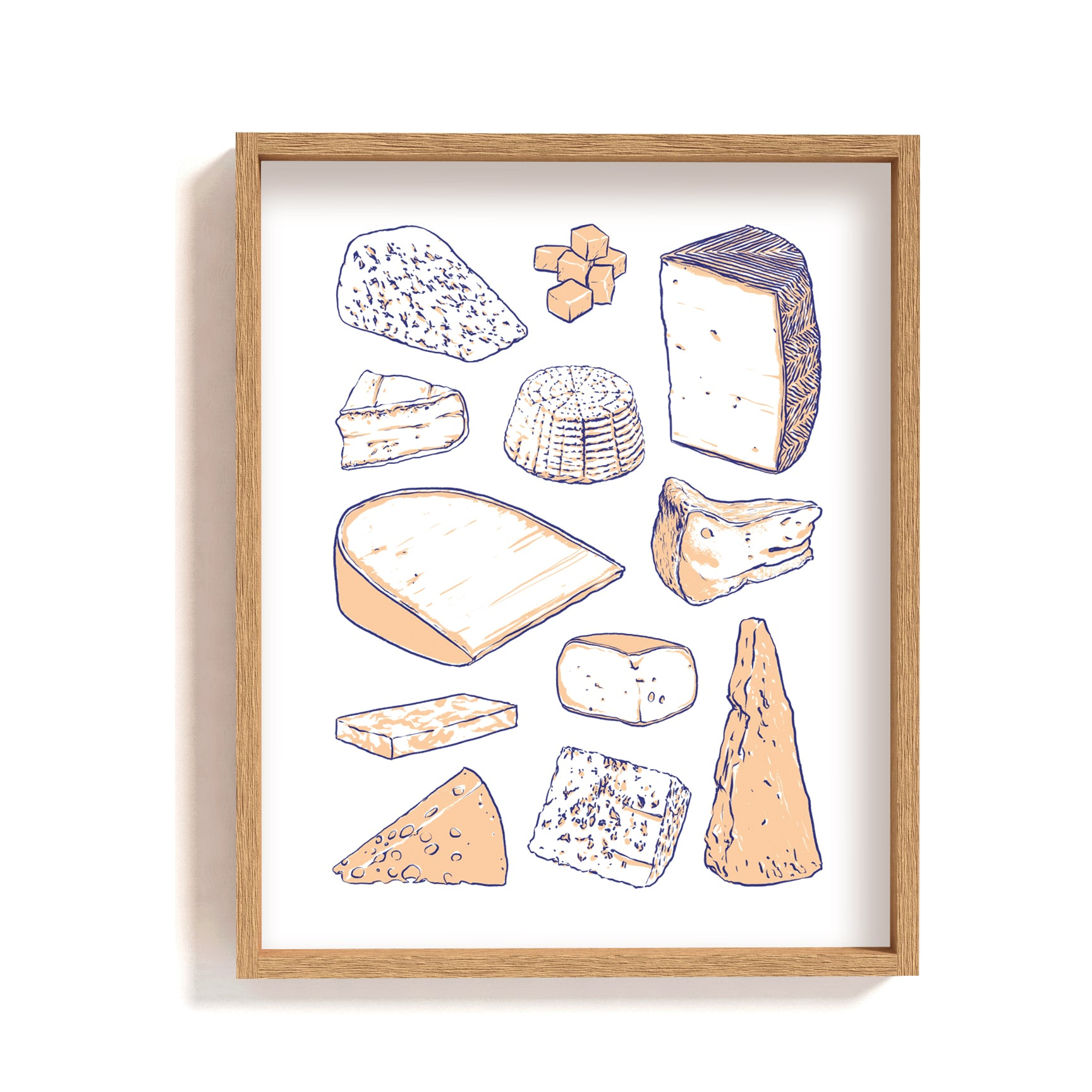 cheese types guide illustration print