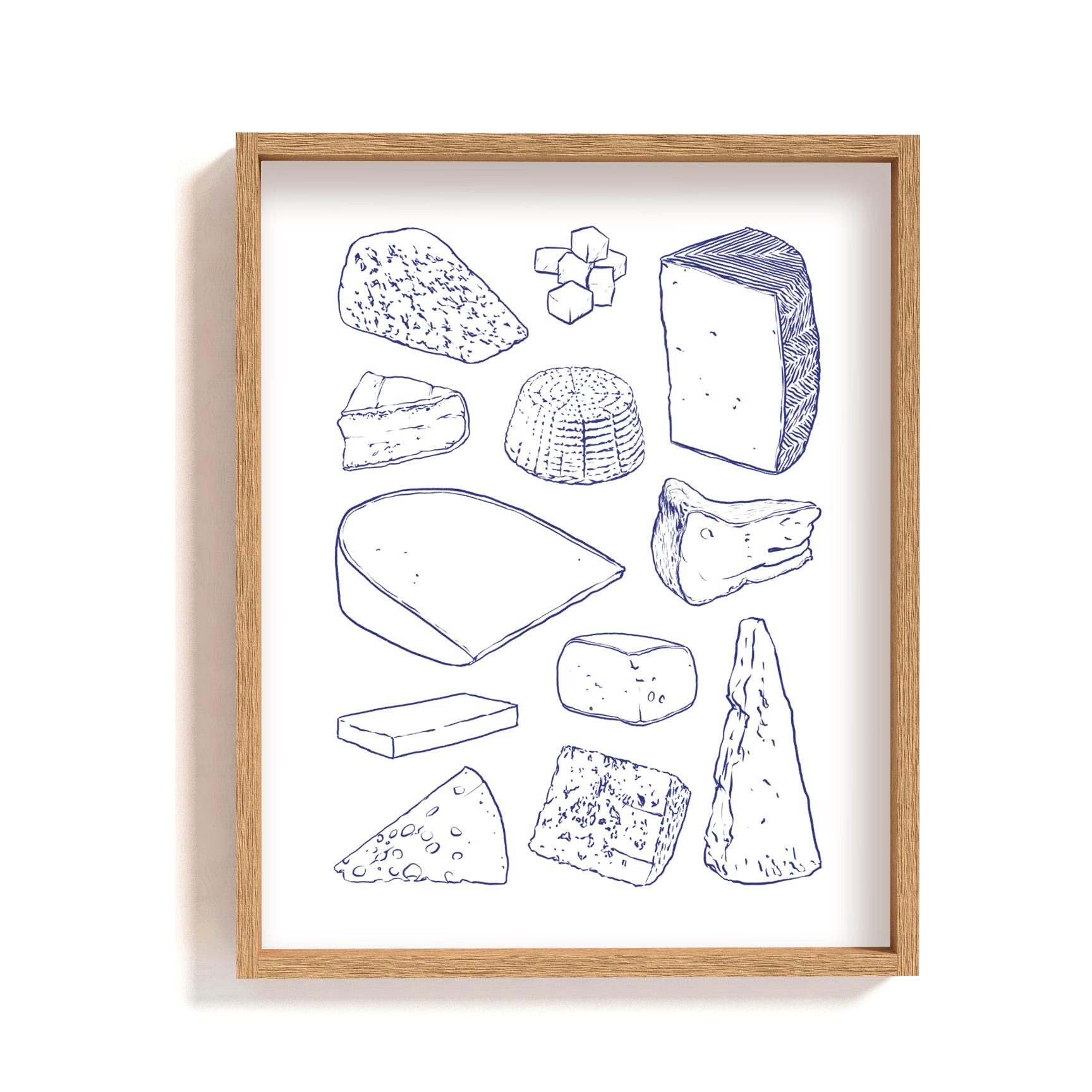 blue white cheese illustration print