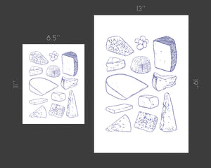 Cheese Types - blue line art | Art Print