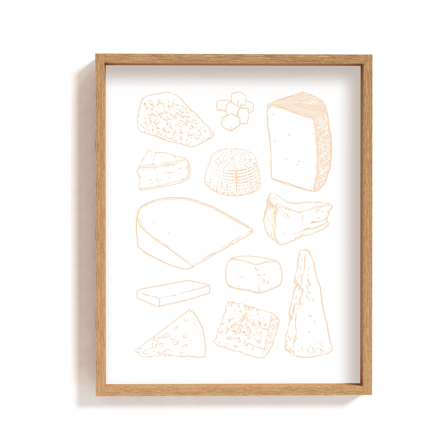 orange line art cheese types illustration print