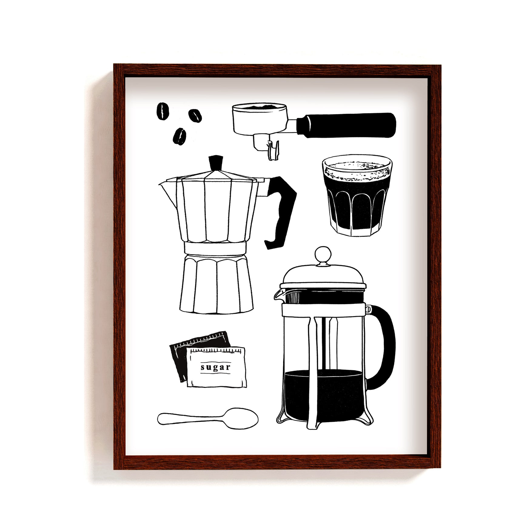 coffee art print black & white