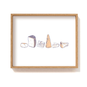 Cheese Types Row - Art Print