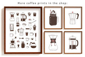 Coffee maker art print - French press