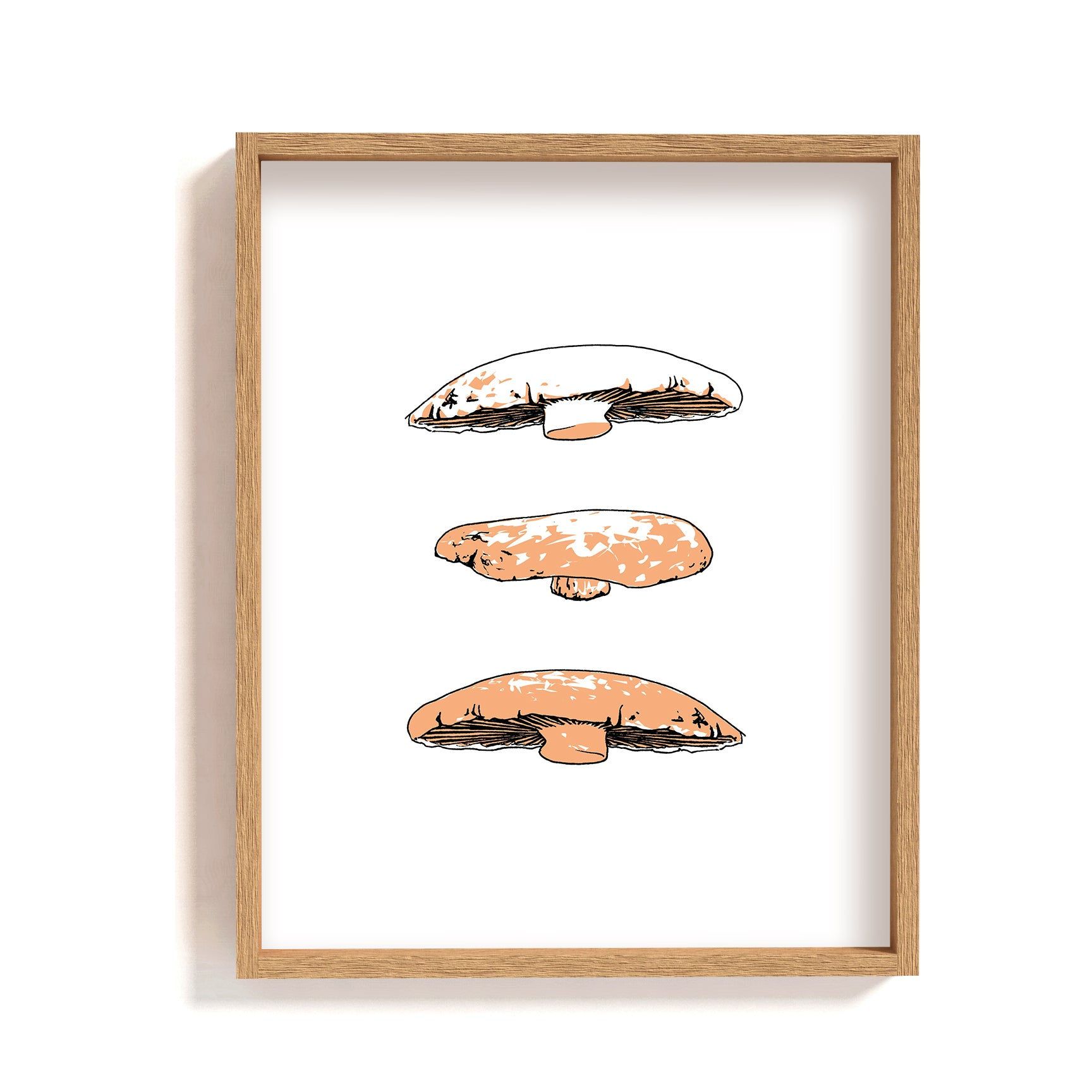 portobello mushrooms illustration print wall art