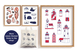 Red lighthouse types - Art Print