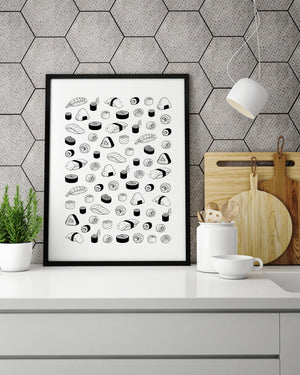 SUSHI black & white- Art Print