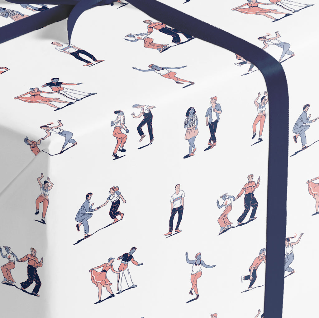 SWING DANCERS | blue-orange palette - wrapping paper