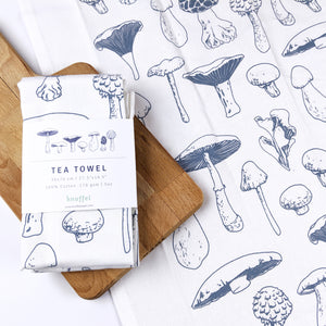 mushroom types illustration cotton dish towel blue white kitchen accessories