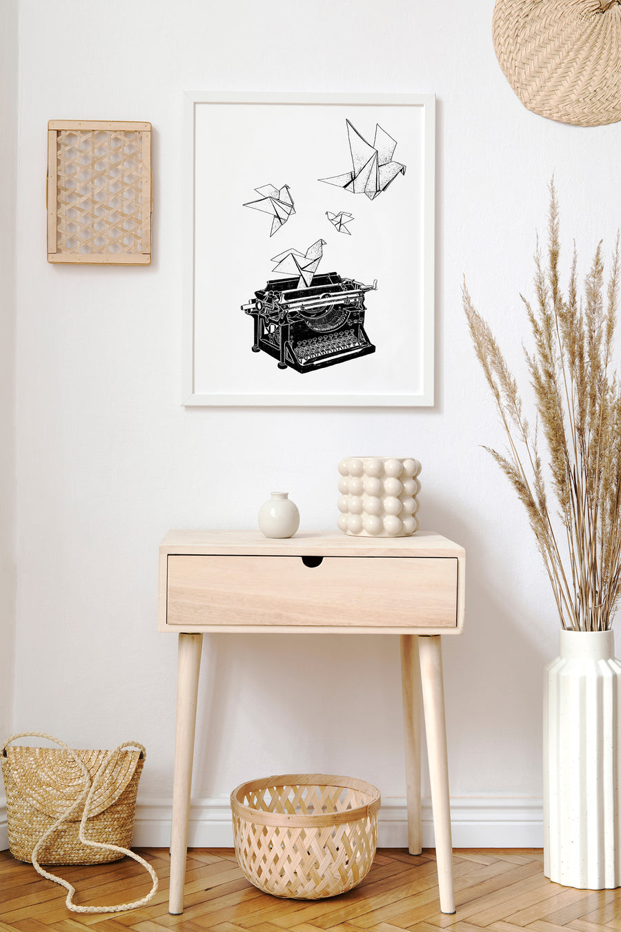 TYPEWRITER ORIGAMI BIRDS - Art Print