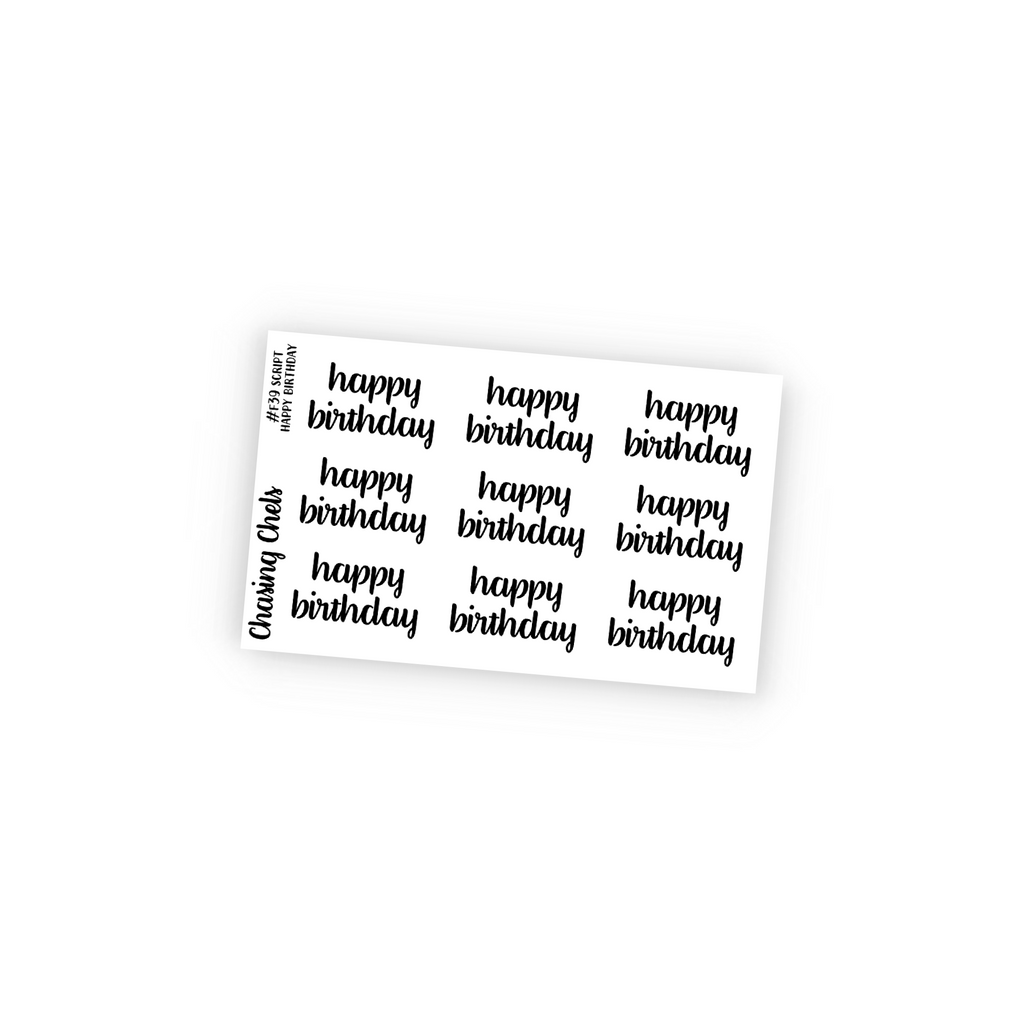 Happy Birthday Script Foil Overlay