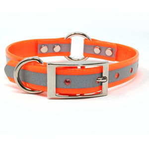 3/4 Inch Reflective Orange Center Ring Collar - Customize your Nameplate!