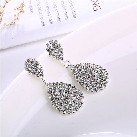 Water Drop Earrings with Full Crystal