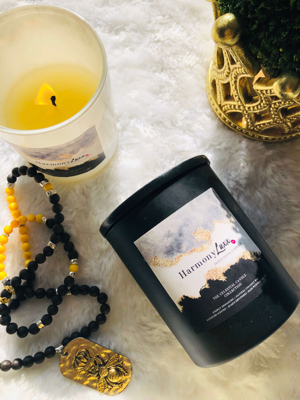 HARMONY LUXX 10 oz GODDESS CRYSTAL CANDLE | All Natural Non-Toxic Quartz Crystal Empowered Goddess Candle