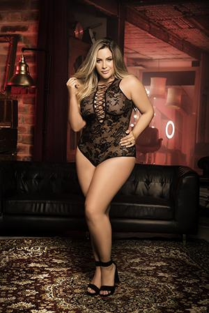 Mapale 7107X Plus Size Plunging Lace-Up Teddy