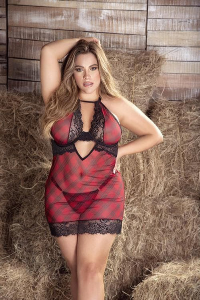 Mapale 7352X Plus Size Plaid Babydoll With Underwire, Matching G-String - SomethingTrendy.com