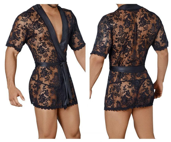 CandyMan 99322 Lace Kimono with Thong - SomethingTrendy.com