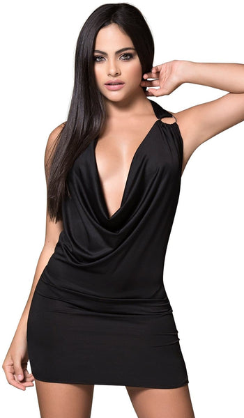 Deep Plunge O Ring Mini Dress - ST1004