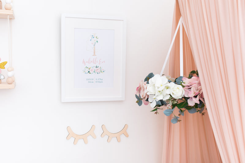 Golden Floral Birth Poster - Mae She Reign - Creative Studio
