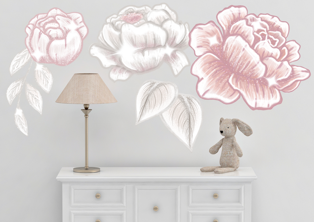 Blush Glamour Peonies Wall Decals - Mae She Reign - Creative Studio