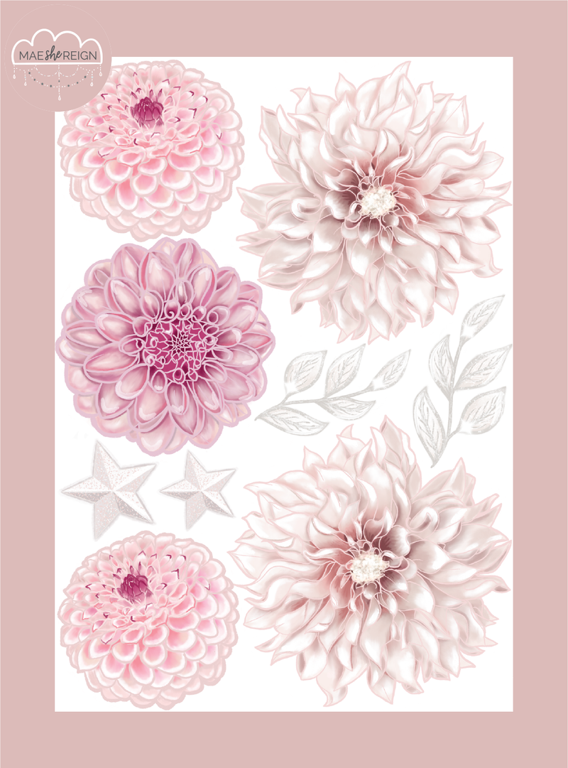 Dahlia Flowers Accessory Pack Wall Decals - Mae She Reign - Creative Studio