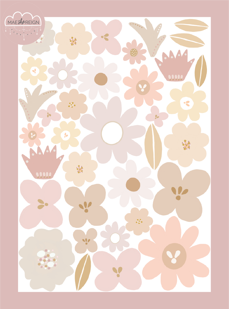 Days With Wildflowers [Blush] Wall Decals - Mae She Reign - Creative Studio