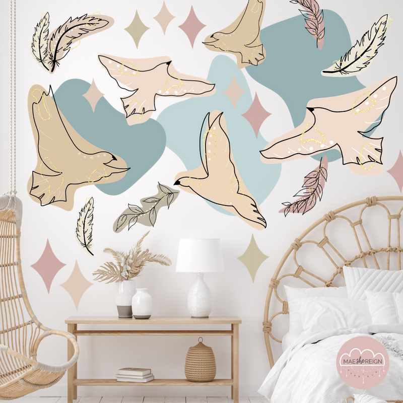 Blooming Wings [Sage Colour] Wall Decals - Mae She Reign - Creative Studio