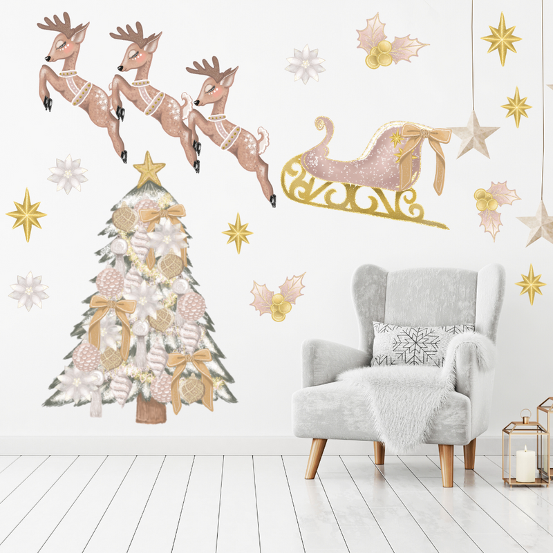 Pink & Gold Reindeer & Sleigh Christmas Wall Decals - Mae She Reign - Creative Studio