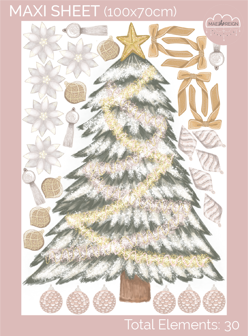 Pink & Gold Christmas Tree with Individual Decorations Wall Decal - Mae She Reign - Creative Studio