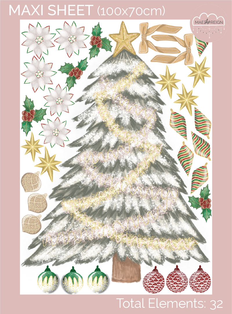 Traditional Christmas Tree with Individual Decorations Wall Decal - Mae She Reign - Creative Studio