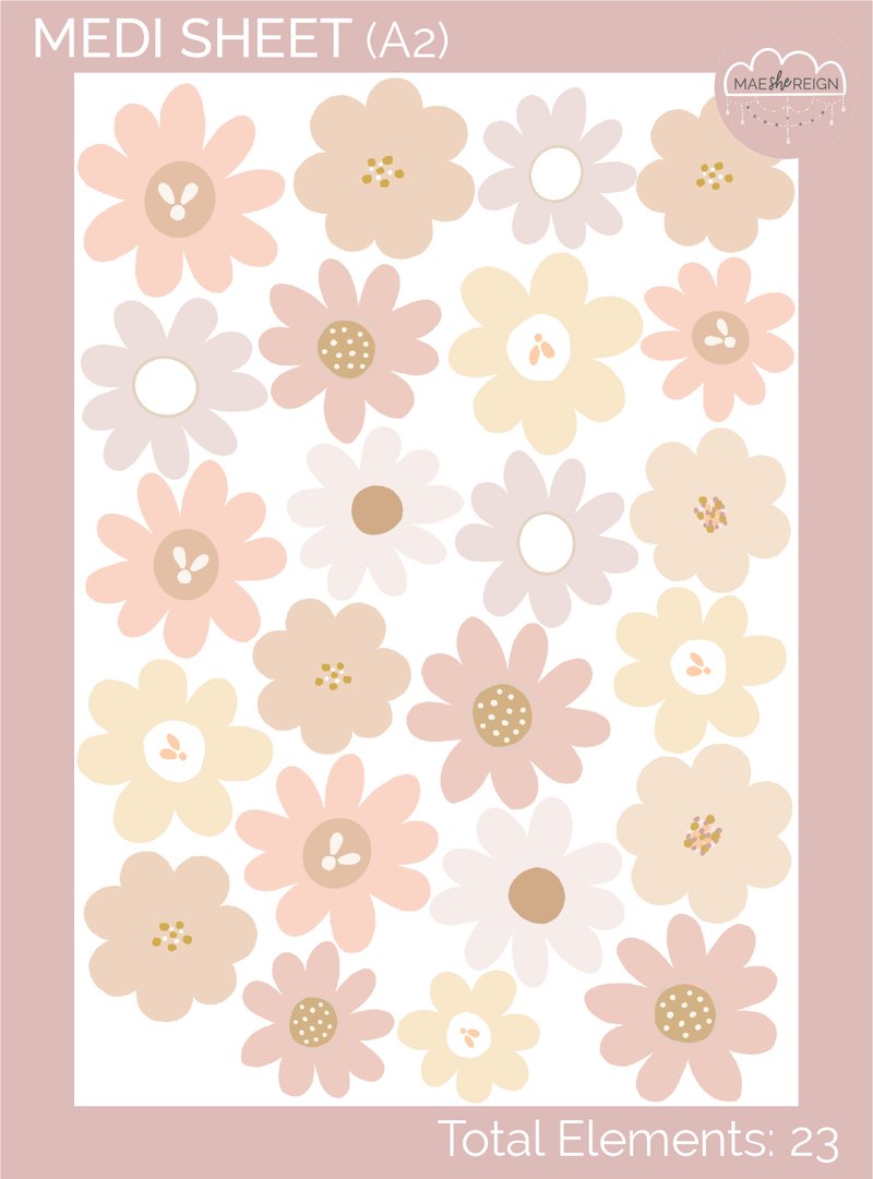 Blush Days With Wildflowers V2.0 Wall Decals - Mae She Reign - Creative Studio