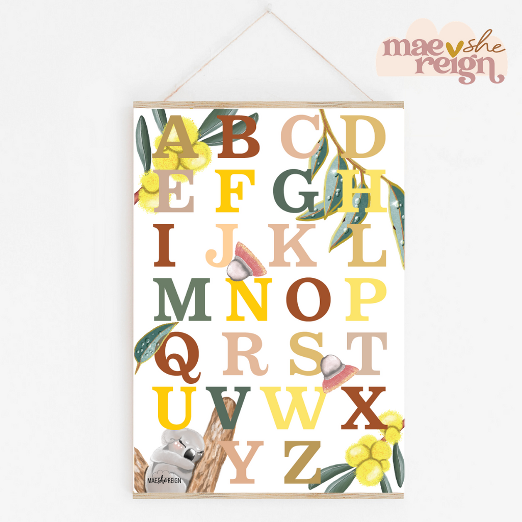 Down Under Aussie Alphabet Poster - Mae She Reign - Creative Studio