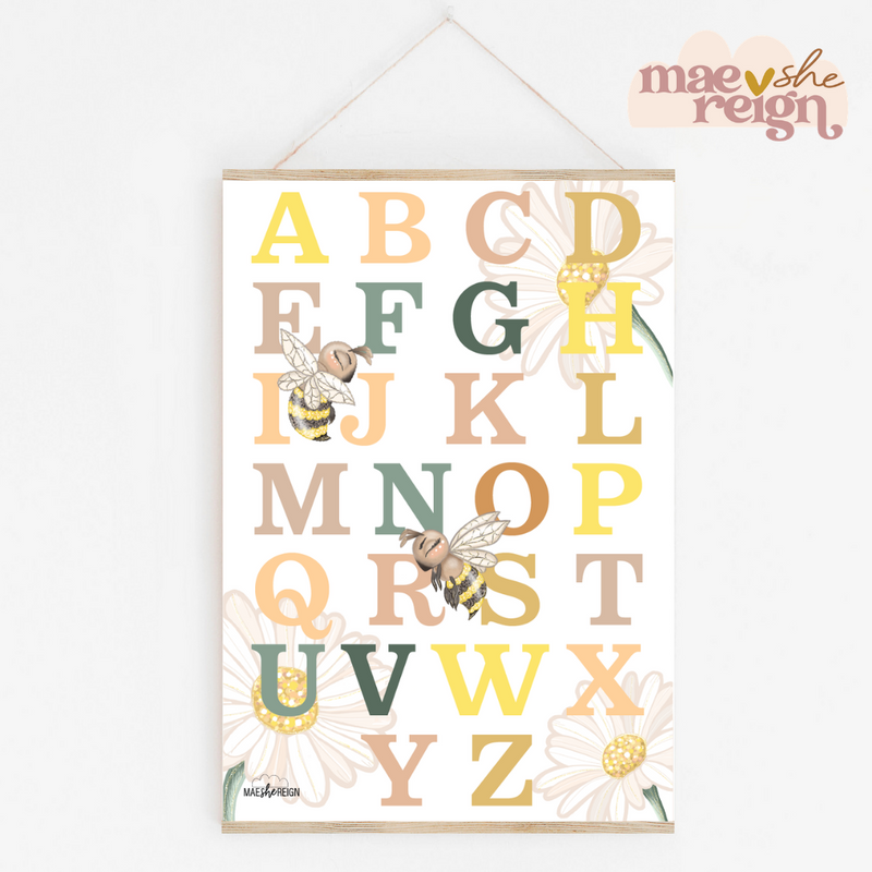 Honey Meadows Alphabet Poster - Mae She Reign - Creative Studio