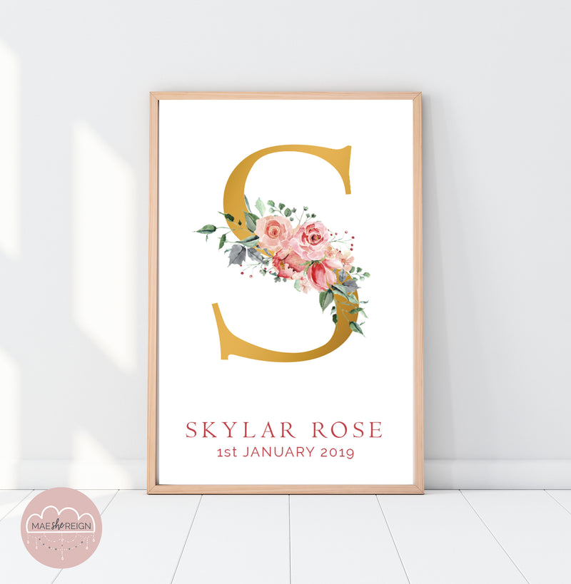 Soft Rose Floral Birth Poster - Mae She Reign - Creative Studio