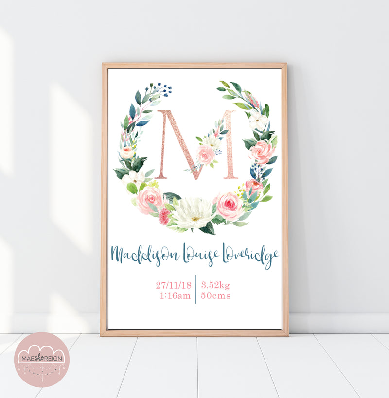 Rose Gold Floral Birth Poster - Mae She Reign - Creative Studio