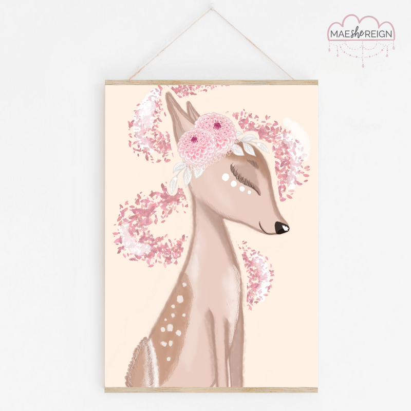 Penny the Fawn with Yellow Background - Mae She Reign - Creative Studio