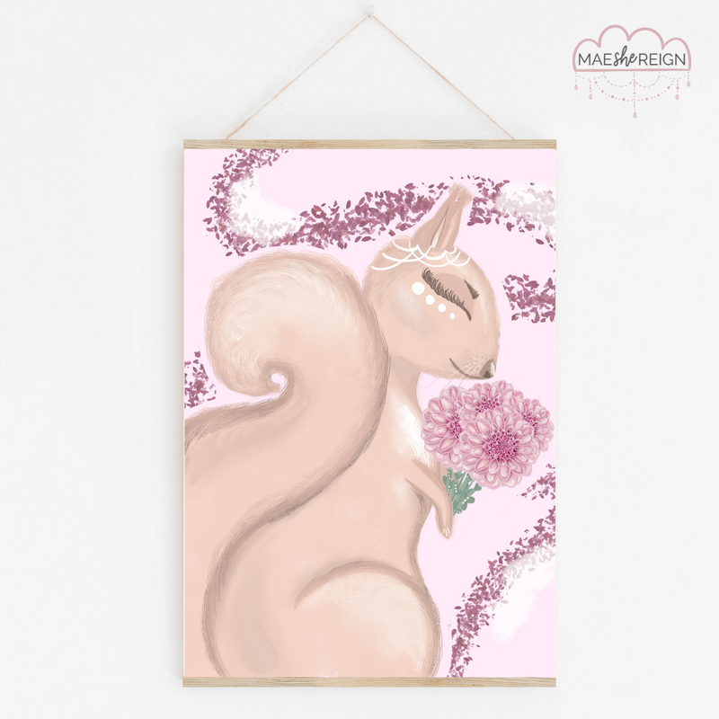 Darla the Squirrel with Purple Background - Mae She Reign - Creative Studio
