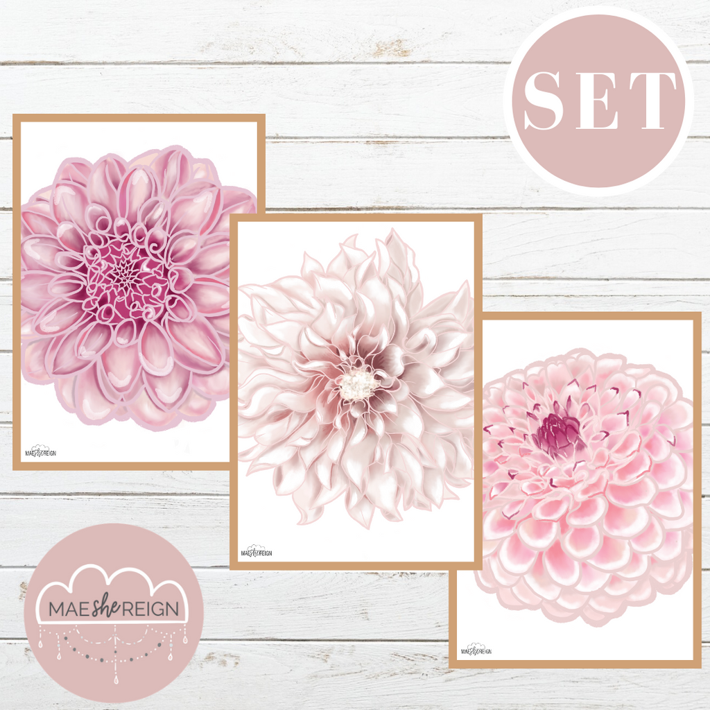 Dahlia Flowers Set (Trio) - Mae She Reign - Creative Studio