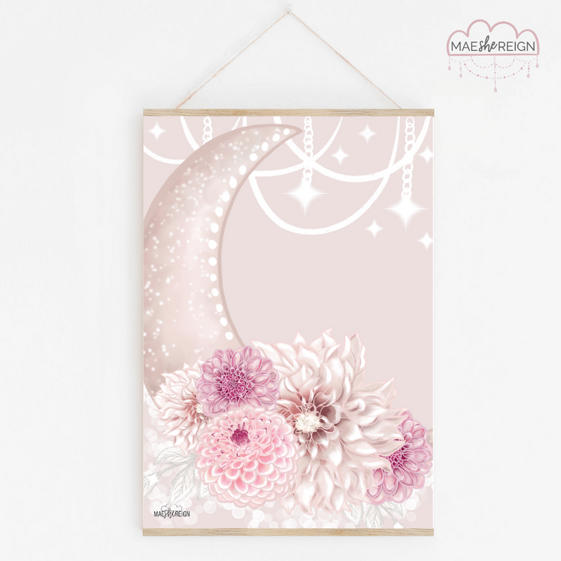 Celestial Dahlia Moon with Pink Background - Mae She Reign - Creative Studio